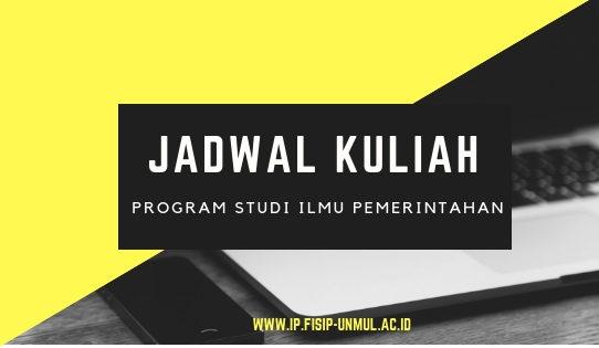 Jadwal Mata Kuliah Program Studi Ilmu Pemerintahan Semester Genap TA 2020/2021